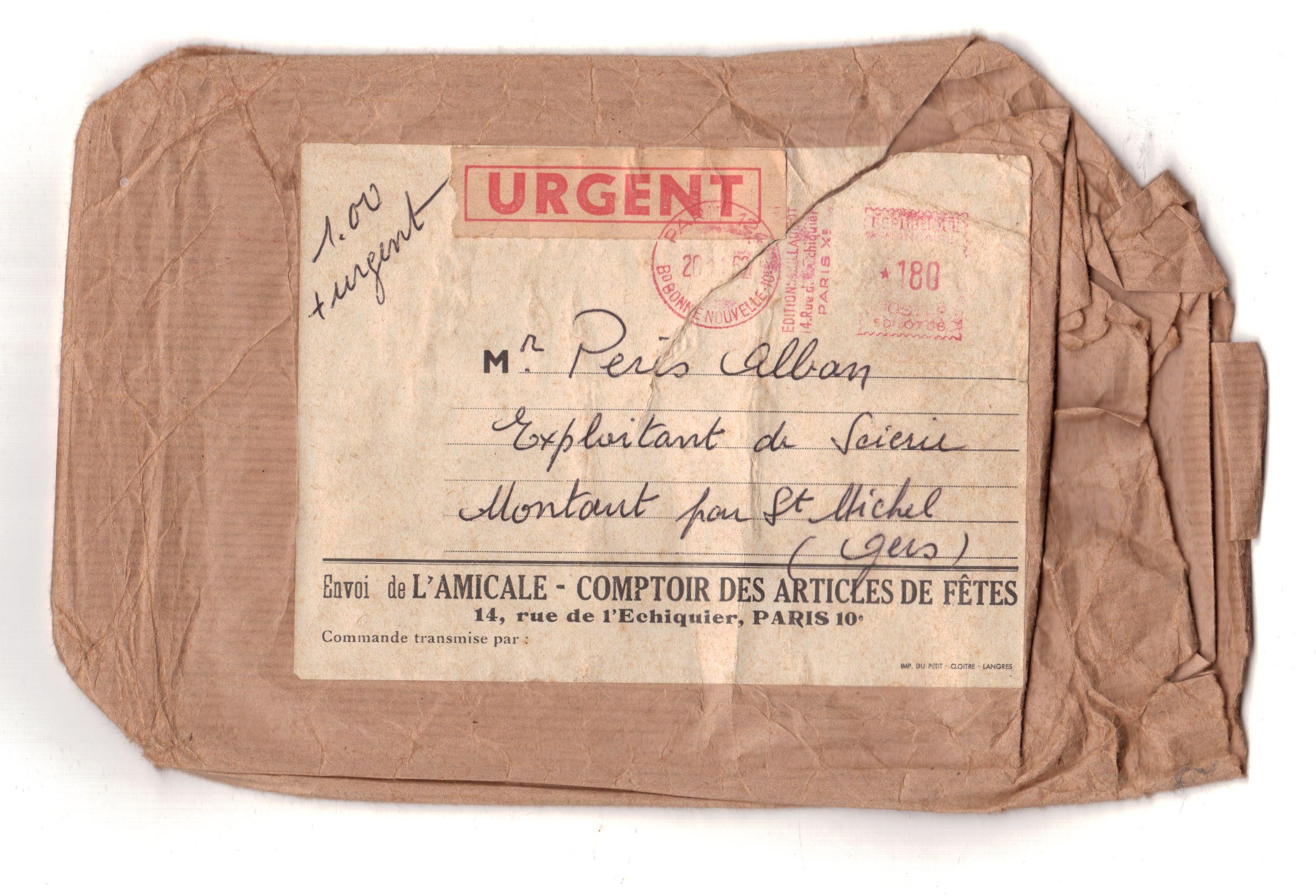 Lettre scierie - 1962