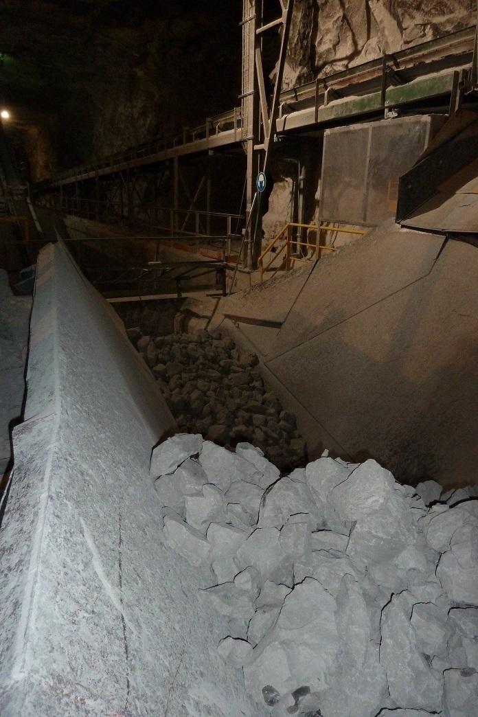 Criblage des blocs de calcaire